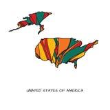 Χάρτης λουλουδιών των ΗΠΑ Στοκ Εικόνες