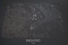 Χάρτης οδών και κτηρίων της Βαγδάτης διανυσματική απεικόνιση