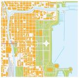 Χάρτης οδών του στο κέντρο της πόλης Σικάγου, Ιλλινόις Στοκ Εικόνες
