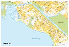 Χάρτης οδών Waikiki Στοκ Εικόνα