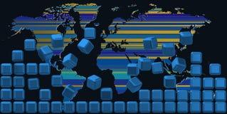 Χάρτης πίσω από τον μπλε τοίχο Στοκ φωτογραφίες με δικαίωμα ελεύθερης χρήσης