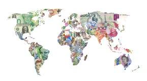 χάρτης παγκόσμιου νομίσματος Στοκ φωτογραφίες με δικαίωμα ελεύθερης χρήσης