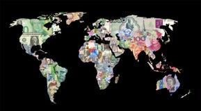 χάρτης παγκόσμιου νομίσματος Στοκ Φωτογραφία