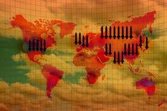 Χάρτης παγκόσμιου πολέμου και πυρηνικό βλήμα διανυσματική απεικόνιση