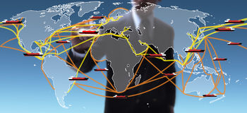 Χάρτης παγκόσμιων εμπορικών οδών στοκ φωτογραφία με δικαίωμα ελεύθερης χρήσης