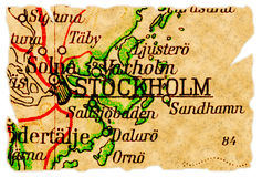 χάρτης παλαιά Στοκχόλμη Σ&omicro στοκ εικόνες