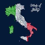 Χάρτης περιοχών της Ιταλίας στη διανυσματική εγγραφή σκίτσων διανυσματική απεικόνιση