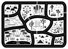 Χάρτης περιπέτειας δρόμων, βουνών και ξύλων Τάπητας παιχνιδιού παιδιών απεικόνιση αποθεμάτων