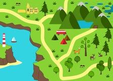 Χάρτης περιπέτειας κινούμενων σχεδίων Άγριο υπόβαθρο φύσης Στοκ Φωτογραφία