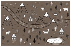 Χάρτης περιπέτειας ποταμών, βουνών και ξύλων με τα σπίτια και τα ζώα Σκανδιναβική ύφους τέχνης πόρτα ή τοίχος βρεφικών σταθμών μο ελεύθερη απεικόνιση δικαιώματος