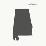 Χάρτης περιλήψεων της Αλαμπάμα επίσης corel σύρετε το διάνυσμα απεικόνισης Στοκ Φωτογραφίες