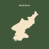 Χάρτης περιλήψεων της Βόρεια Κορέας απεικόνιση Στοκ Εικόνες