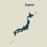 Χάρτης περιλήψεων της Ιαπωνίας απεικόνιση Στοκ Εικόνες