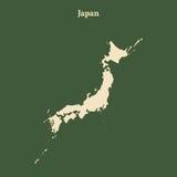 Χάρτης περιλήψεων της Ιαπωνίας απεικόνιση Στοκ φωτογραφία με δικαίωμα ελεύθερης χρήσης