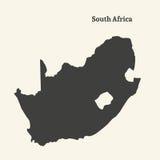 Χάρτης περιλήψεων της Νότιας Αφρικής απεικόνιση Στοκ Εικόνα