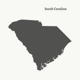 Χάρτης περιλήψεων της νότιας Καρολίνας απεικόνιση Στοκ Εικόνα