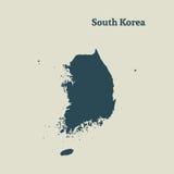 Χάρτης περιλήψεων της Νότιας Κορέας απεικόνιση Στοκ Εικόνα