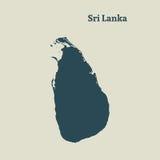Χάρτης περιλήψεων της Σρι Λάνκα απεικόνιση Στοκ Εικόνες