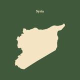 Χάρτης περιλήψεων της Συρίας απεικόνιση Στοκ Φωτογραφία