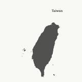 Χάρτης περιλήψεων της Ταϊβάν απεικόνιση Στοκ Εικόνα