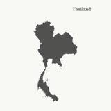 Χάρτης περιλήψεων της Ταϊλάνδης απεικόνιση Στοκ εικόνες με δικαίωμα ελεύθερης χρήσης