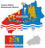 Χάρτης περιλήψεων του Ιβάνοβο Oblast με τη σημαία Στοκ Εικόνες