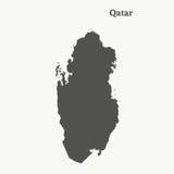 Χάρτης περιλήψεων του Κατάρ απεικόνιση Στοκ Εικόνες
