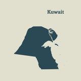 Χάρτης περιλήψεων του Κουβέιτ απεικόνιση Στοκ φωτογραφία με δικαίωμα ελεύθερης χρήσης