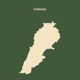 Χάρτης περιλήψεων του Λιβάνου απεικόνιση Στοκ Φωτογραφίες