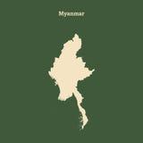 Χάρτης περιλήψεων του Μιανμάρ απεικόνιση Στοκ Φωτογραφία