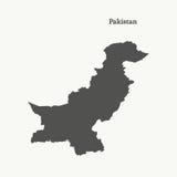 Χάρτης περιλήψεων του Πακιστάν απεικόνιση Στοκ εικόνα με δικαίωμα ελεύθερης χρήσης