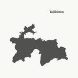 Χάρτης περιλήψεων του Τατζικιστάν απεικόνιση Στοκ εικόνες με δικαίωμα ελεύθερης χρήσης