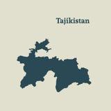 Χάρτης περιλήψεων του Τατζικιστάν απεικόνιση Στοκ Εικόνες