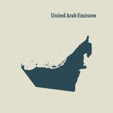Χάρτης περιλήψεων των Ηνωμένων Αραβικών Εμιράτων απεικόνιση Στοκ Φωτογραφίες