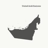 Χάρτης περιλήψεων των Ηνωμένων Αραβικών Εμιράτων απεικόνιση Στοκ εικόνα με δικαίωμα ελεύθερης χρήσης
