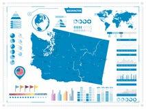 Χάρτης πολιτεία της Washington και infograpchic στοιχεία διανυσματική απεικόνιση