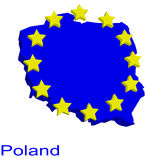 χάρτης Πολωνία περιγράμματ&o Στοκ Εικόνες
