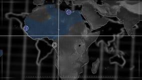 Χάρτης που κινεί και που στοχεύει σε μέρος του κόσμου απόθεμα βίντεο