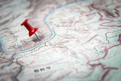 Χάρτης που μαρκάρεται με το κόκκινο pushpin Στοκ εικόνα με δικαίωμα ελεύθερης χρήσης