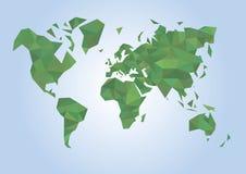 χάρτης πολυγώνων του κόσμου πράσινου Στοκ φωτογραφία με δικαίωμα ελεύθερης χρήσης