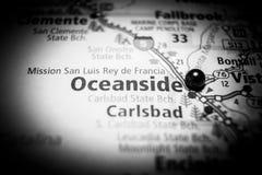 Χάρτης προορισμού ταξιδιού Καλιφόρνιας Oceanside στοκ εικόνες