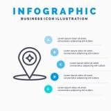 Χάρτης, πυξίδα, ναυσιπλοΐα, εικονίδιο γραμμών θέσης με το υπόβαθρο infographics παρουσίασης 5 βημάτων απεικόνιση αποθεμάτων