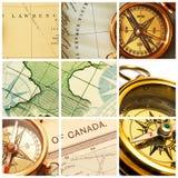 χάρτης πυξίδων κολάζ Στοκ Φωτογραφίες