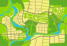 χάρτης πόλεων ανασκόπησης άνευ ραφής άνευ ραφής ηλίανθοι ανασ&kappa Διανυσματική απεικόνιση
