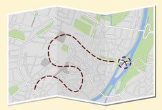 Χάρτης πόλεων με την καθοδήγηση διαδρομών απεικόνιση αποθεμάτων