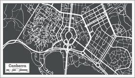 Χάρτης πόλεων της Καμπέρρα Αυστραλία στο αναδρομικό ύφος Γραπτή διανυσματική απεικόνιση Στοκ φωτογραφίες με δικαίωμα ελεύθερης χρήσης