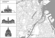 Χάρτης πόλεων της Κοπεγχάγης με τα hand-drawn εικονίδια αρχιτεκτονικής ελεύθερη απεικόνιση δικαιώματος