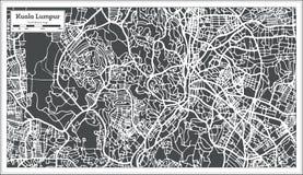 Χάρτης πόλεων της Κουάλα Λουμπούρ Μαλαισία στο αναδρομικό ύφος Γραπτή διανυσματική απεικόνιση Στοκ φωτογραφία με δικαίωμα ελεύθερης χρήσης