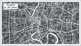 Χάρτης πόλεων της Μπανγκόκ Ταϊλάνδη στο αναδρομικό ύφος Γραπτή διανυσματική απεικόνιση Στοκ Φωτογραφίες