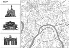 Χάρτης πόλεων της Μόσχας με τα hand-drawn εικονίδια αρχιτεκτονικής απεικόνιση αποθεμάτων